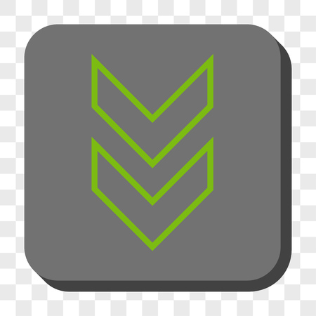 shift: Shift Down interface toolbar icon. Vector pictogram style is a flat symbol inside a rounded square button, light green and gray colors, chess transparent background.