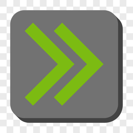redirect: Shift Right toolbar button. Vector pictograph style is a flat symbol in a rounded square button, light green and gray colors, chess transparent background.