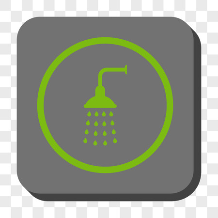 disinfect: Shower rounded icon. Vector pictograph style is a flat symbol in a rounded square button, light green and gray colors, chess transparent background. Illustration