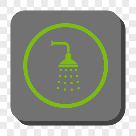 sanitize: Shower interface toolbar icon. Vector pictogram style is a flat symbol inside a rounded square button, light green and gray colors, chess transparent background.