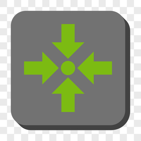 shrink: Shrink Arrows toolbar icon. Vector pictogram style is a flat symbol inside a rounded square button, light green and gray colors, chess transparent background.