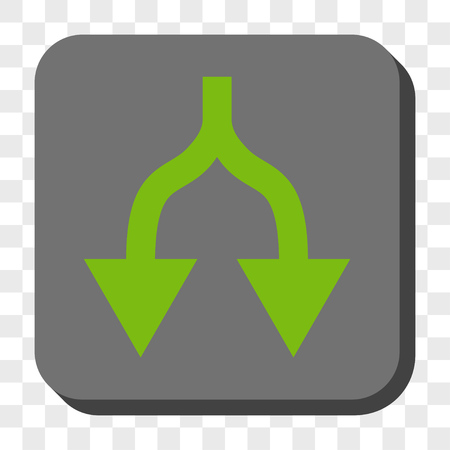 vertical divider: Split Arrows Down rounded button. Vector pictogram style is a flat symbol in a rounded square button, light green and gray colors, chess transparent background.