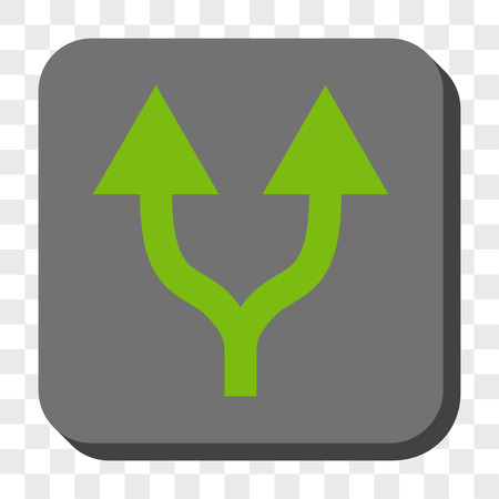 vertical divider: Split Arrows Up square icon. Vector pictograph style is a flat symbol on a rounded square button, light green and gray colors, chess transparent background.