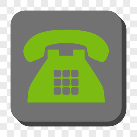 telephony: Tone Phone toolbar icon. Vector pictogram style is a flat symbol in a rounded square button, light green and gray colors, chess transparent background.