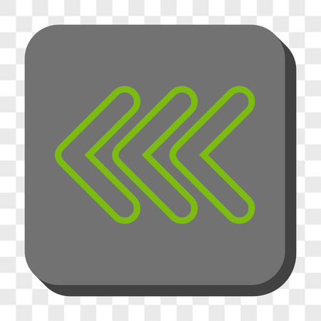 triple: Triple Pointer Left toolbar icon. Vector pictogram style is a flat symbol in a rounded square button, light green and gray colors, chess transparent background. Illustration