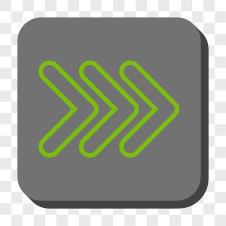 triple: Triple Pointer Right interface button. Vector pictograph style is a flat symbol centered in a rounded square button, light green and gray colors, chess transparent background.