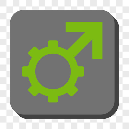 erection: Technological Potence square icon. Vector pictograph style is a flat symbol on a rounded square button, light green and gray colors, chess transparent background. Illustration
