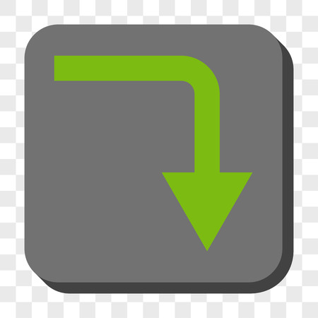 turn down: Turn Down square button. Vector pictogram style is a flat symbol on a rounded square button, light green and gray colors, chess transparent background.
