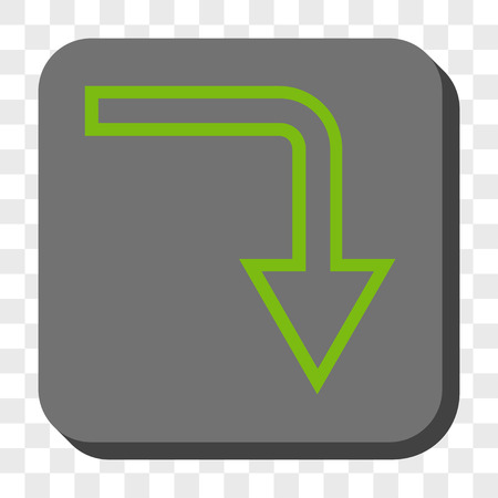 turn down: Turn Down interface toolbar button. Vector pictograph style is a flat symbol inside a rounded square button, light green and gray colors, chess transparent background.