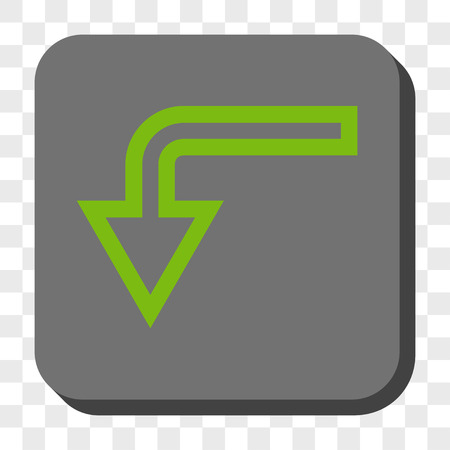 turn down: Turn Down toolbar button. Vector pictograph style is a flat symbol centered in a rounded square button, light green and gray colors, chess transparent background.