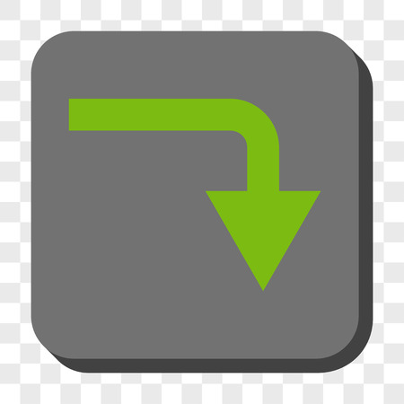 turn down: Turn Down rounded button. Vector pictograph style is a flat symbol inside a rounded square button, light green and gray colors, chess transparent background.