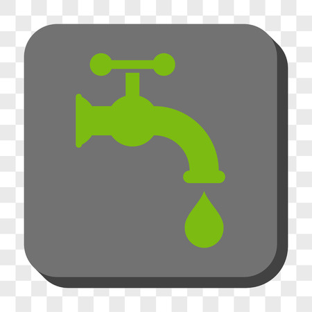 aqueduct: Water Tap interface toolbar button. Vector pictograph style is a flat symbol on a rounded square button, light green and gray colors, chess transparent background.