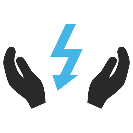 Electrical Power Maintenance Hands EPS vector pictogram. Illustration style is flat iconic bicolor blue and gray symbol on white background. Illustration