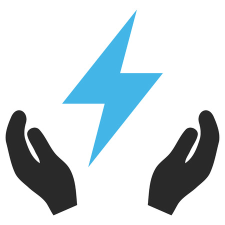 Electricity Maintenance Hands EPS vector pictograph. Illustration style is flat iconic bicolor blue and gray symbol on white background.
