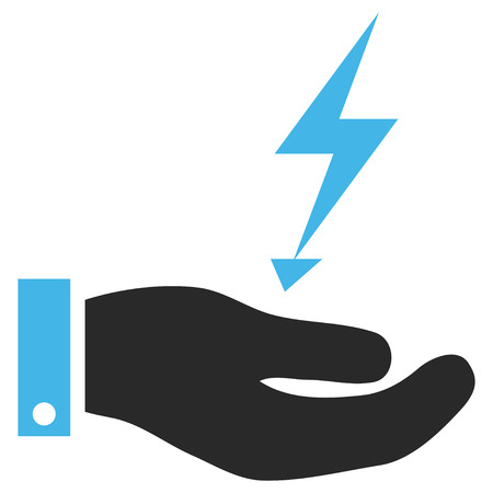 enforce: Electricity Supply Hand EPS vector icon. Illustration style is flat iconic bicolor blue and gray symbol on white background. Illustration