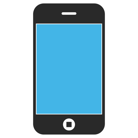 Mobile Phone EPS vector pictograph. Illustration style is flat iconic bicolor blue and gray symbol on white background.