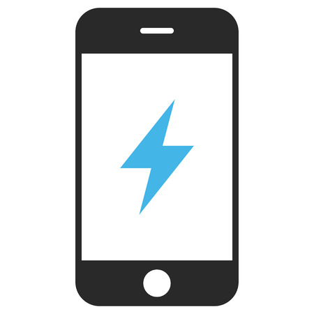 Smartphone Electricity EPS vector pictogram. Illustration style is flat iconic bicolor blue and gray symbol on white background. Illustration