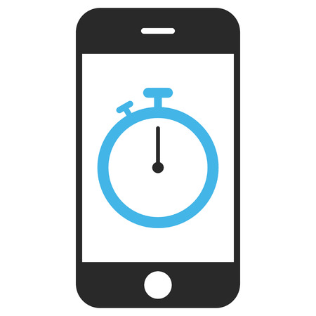 Stopwatch Gadget EPS vector icon. Illustration style is flat iconic bicolor blue and gray symbol on white background. Stok Fotoğraf - 64344229
