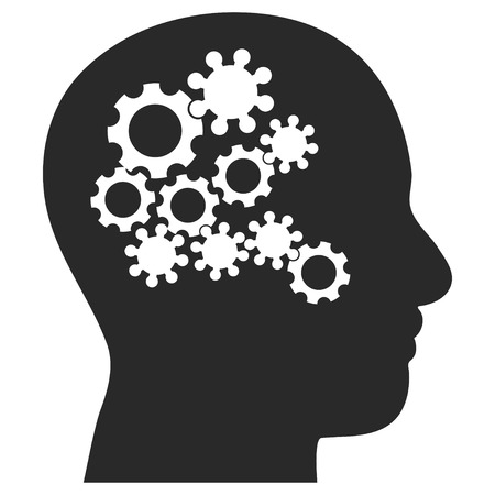 eps vector icon: Human Mind Gears EPS vector icon. Illustration style is flat iconic gray symbol on white background.