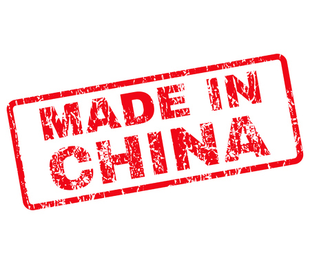 Made in China Rubber Stamp vector image. Stamp has rounded rectangle shape, red color, white background.