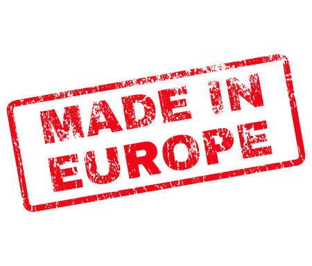 rounded rectangle: Made in Europe Rubber Stamp vector image. Stamp has rounded rectangle shape, red color, white background. Illustration