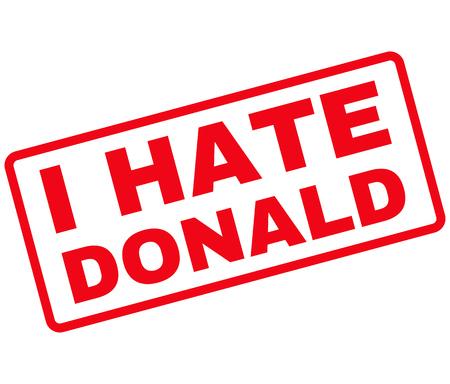rectángulo: vector de imagen Sello de goma Donald Odio. Sello se redondea de forma rectangular, de color rojo, fondo blanco.