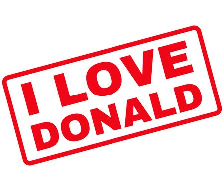 rectangulo: vector de imagen Sello de goma Donald Amo. Sello se redondea de forma rectangular, de color rojo, fondo blanco.