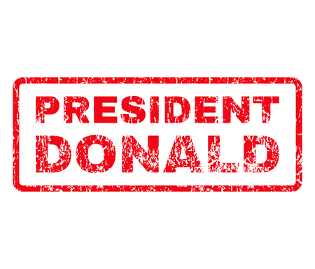donald: President Donald Rubber Stamp vector image. Stamp has rounded rectangle shape, red color, white background.