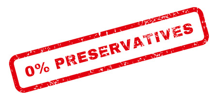 preservatives: 0 Percent Preservatives Text rubber seal stamp watermark. Tag inside rectangular banner with grunge design and unclean texture. Slanted vector red ink sticker on a white background.