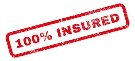 insured: 100 Percent Insured Text rubber seal stamp watermark. Tag inside rectangular shape with grunge design and scratched texture. Slanted glyph red ink emblem on a white background.