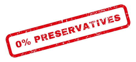 preservatives: 0 Percent Preservatives Text rubber seal stamp watermark. Caption inside rectangular banner with grunge design and dust texture. Slanted glyph red ink sticker on a white background. Stock Photo