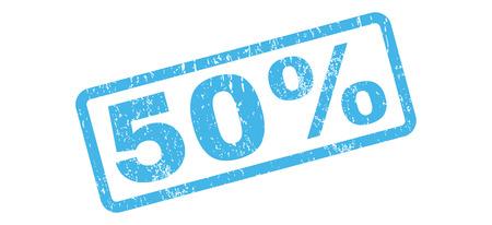 50 Prozent Text Gummidichtung Stempel Wasserzeichen . Beschriftung in rechteckigen Banner mit Grunge-Design und unreine Textur . Schräge Farbe blau Piktogramm auf weißem Hintergrund Standard-Bild - 64582911