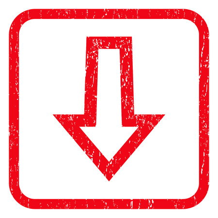 Arrow Down rubber seal stamp watermark. Icon symbol inside rounded rectangular frame with grunge design and dirty texture. Unclean vector red ink emblem on a white background.