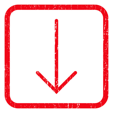 Arrow Down rubber seal stamp watermark. Icon symbol inside rounded rectangular frame with grunge design and dirty texture. Unclean vector red ink sticker on a white background. Illustration