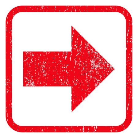 Sinal de borracha para a direita marca de água do selo. Símbolo do ícone dentro do quadro retangular arredondado com design grunge e textura arranhada. Emblema de tinta vermelha do vetor impuro em um fundo branco.