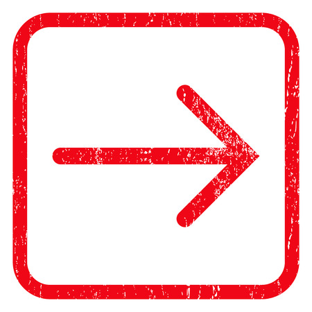 redirect: Arrow Right rubber seal stamp watermark. Icon symbol inside rounded rectangular frame with grunge design and scratched texture. Unclean vector red ink sign on a white background.