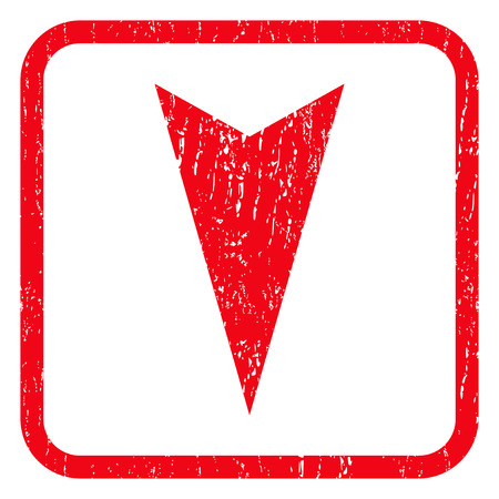 Arrowhead Down rubber seal stamp watermark. Icon symbol inside rounded rectangular frame with grunge design and dirty texture. Unclean vector red ink sticker on a white background.