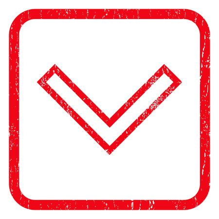 icon red: Arrowhead Down rubber seal stamp watermark. Icon symbol inside rounded rectangular frame with grunge design and unclean texture. Unclean vector red ink sign on a white background. Illustration
