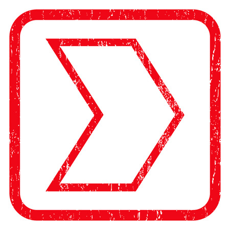 redirect: Arrowhead Right rubber seal stamp watermark. Icon symbol inside rounded rectangular frame with grunge design and scratched texture. Unclean vector red ink sign on a white background.