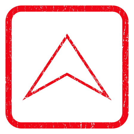 Arrowhead Up rubber seal stamp watermark. Icon symbol inside rounded rectangular frame with grunge design and scratched texture. Unclean vector red ink sign on a white background. Illustration