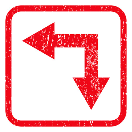 bifurcation: Bifurcation Arrow Left Down rubber seal stamp watermark. Icon symbol inside rounded rectangular frame with grunge design and scratched texture. Unclean vector red ink sign on a white background. Illustration