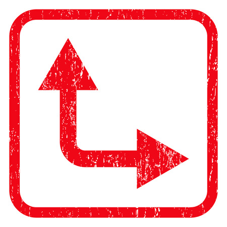 bifurcation: Bifurcation Arrow Right Up rubber seal stamp watermark. Icon symbol inside rounded rectangular frame with grunge design and dust texture. Unclean vector red ink emblem on a white background.