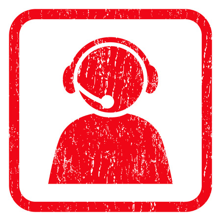 Call Center Operator rubber seal stamp watermark. Icon symbol inside rounded rectangular frame with grunge design and scratched texture. Unclean vector red ink sticker on a white background.