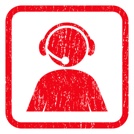 Call Center Operator rubber seal stamp watermark. Icon symbol inside rounded rectangular frame with grunge design and dirty texture. Unclean vector red ink sticker on a white background. Illustration