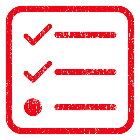 numerate: Checklist rubber seal stamp watermark. Icon symbol inside rounded rectangular frame with grunge design and unclean texture. Unclean vector red ink sign on a white background.