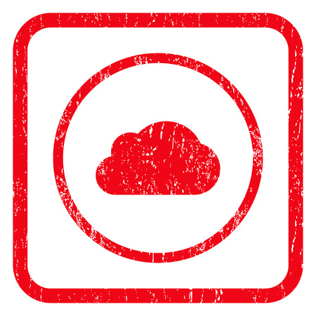 saas: Cloud rubber seal stamp watermark. Icon symbol inside rounded rectangular frame with grunge design and dirty texture. Unclean vector red ink emblem on a white background. Illustration