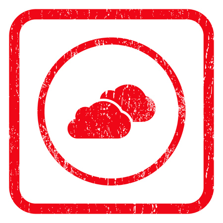 saas: Clouds rubber seal stamp watermark. Icon symbol inside rounded rectangular frame with grunge design and dirty texture. Unclean vector red ink sticker on a white background. Illustration