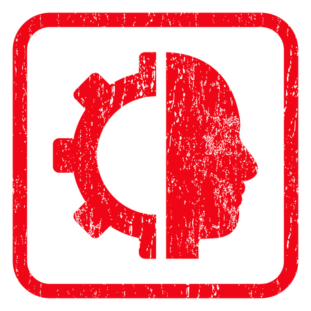robo: Cyborg Gear rubber seal stamp watermark. Icon symbol inside rounded rectangular frame with grunge design and dirty texture. Unclean vector red ink sticker on a white background.