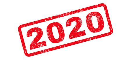 2020 Text rubber seal stamp watermark. Caption inside rectangular shape with grunge design and unclean texture. Slanted vector red ink sign on a white background.