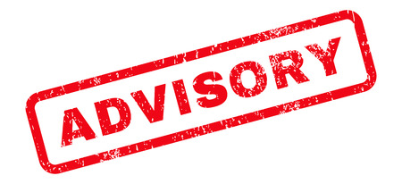 advisory: Advisory Text rubber seal stamp watermark. Tag inside rectangular banner with grunge design and dust texture. Slanted vector red ink sticker on a white background.